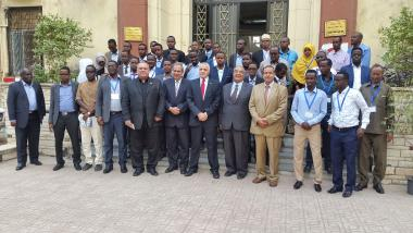 © 2016 AU-IBAR. Group photo of participants at Training program on Quarantine Management Practices and Laboratory Diagnosis of trade limiting diseases (FMD, RVF, PPR and Brucellosis) for veterinary staff under the Enhancing Somali Livestock Trade Project at Animal Health Research Institute, Cairo, Egypt, from 30th October to 6th November 2016.