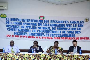 © 2014 AU-IBAR. The workshop was opened by Madam Marie Rose NIZIGIYIMANA, Minister for Trade, Industry, Posts and tourism of the Republic of Burundi (3rd from left)